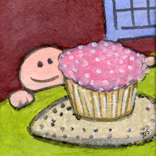 Yellow Cupcake, Pink Frosting