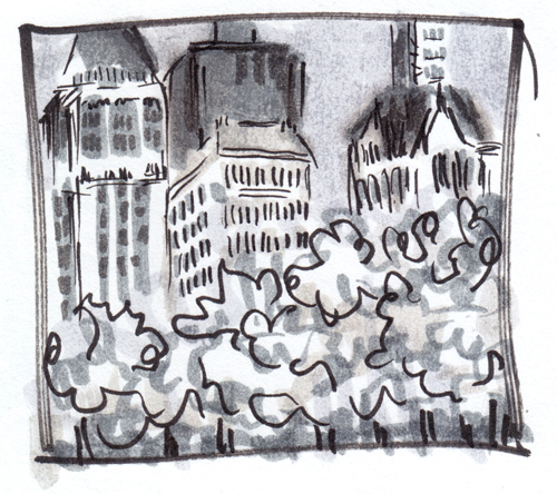 Bryant Park urban sketch, no.1